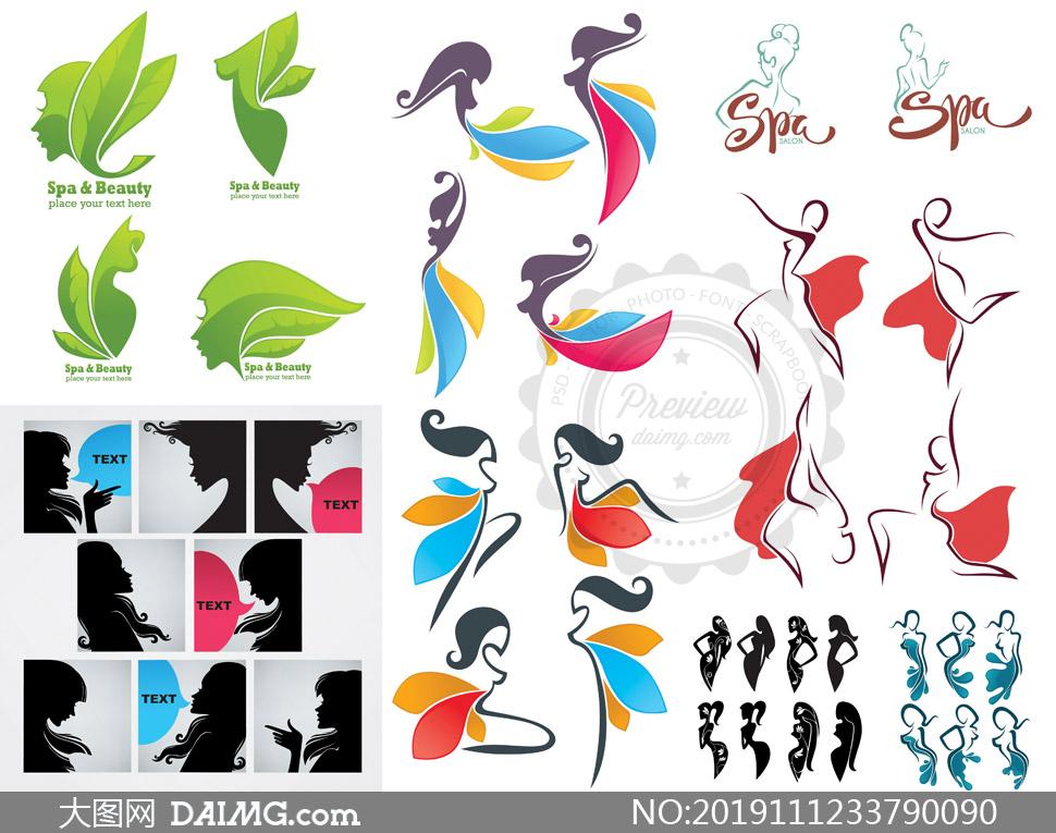 女性人物剪影创意标志设计矢量素材