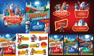 卡通人物与霓虹边框等圣诞矢量素材