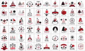 红黑色调圣诞设计元素创意矢量素材