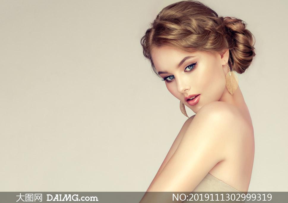 盤發造型濃妝美女模特寫真攝影圖片