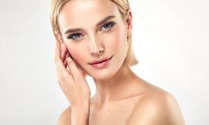 干练短发妆容美女人物摄影高清图片