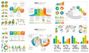 多彩鲜艳配色的信息图创意矢量素材