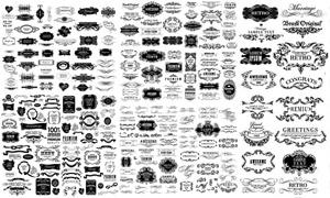 黑白復古風格花紋裝飾邊框矢量素材