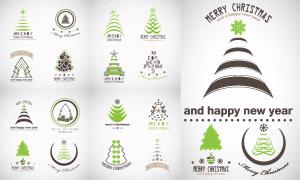 几何抽象图案元素的圣诞树矢量素材
