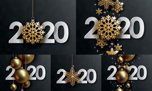 金色雪花与圣诞挂球等创意矢量素材