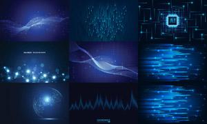 星光元素与波形曲线等创意矢量素材