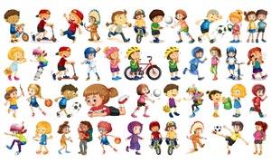 卡通角色设定儿童人物创意矢量素材
