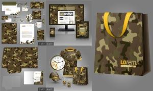 迷彩图案视觉元素效果展示矢量素材