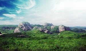 高原上的绿色植被和石头摄影图片