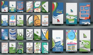 多用途易拉寶廣告設計矢量模板V10