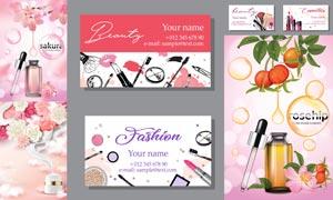 精華液廣告與化妝行業名片矢量素材