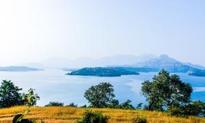 美丽的湖泊和湖边草丛摄影图片