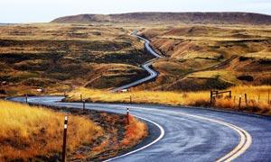 田园弯曲的公路景观高清摄影图片