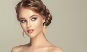 盈亮盤發美女人物寫真攝影高清圖片