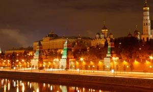 俄罗斯克林姆林宫美丽夜景摄影图片
