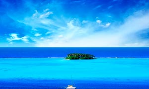 蓝天白云下的海岛美景高清摄影图片