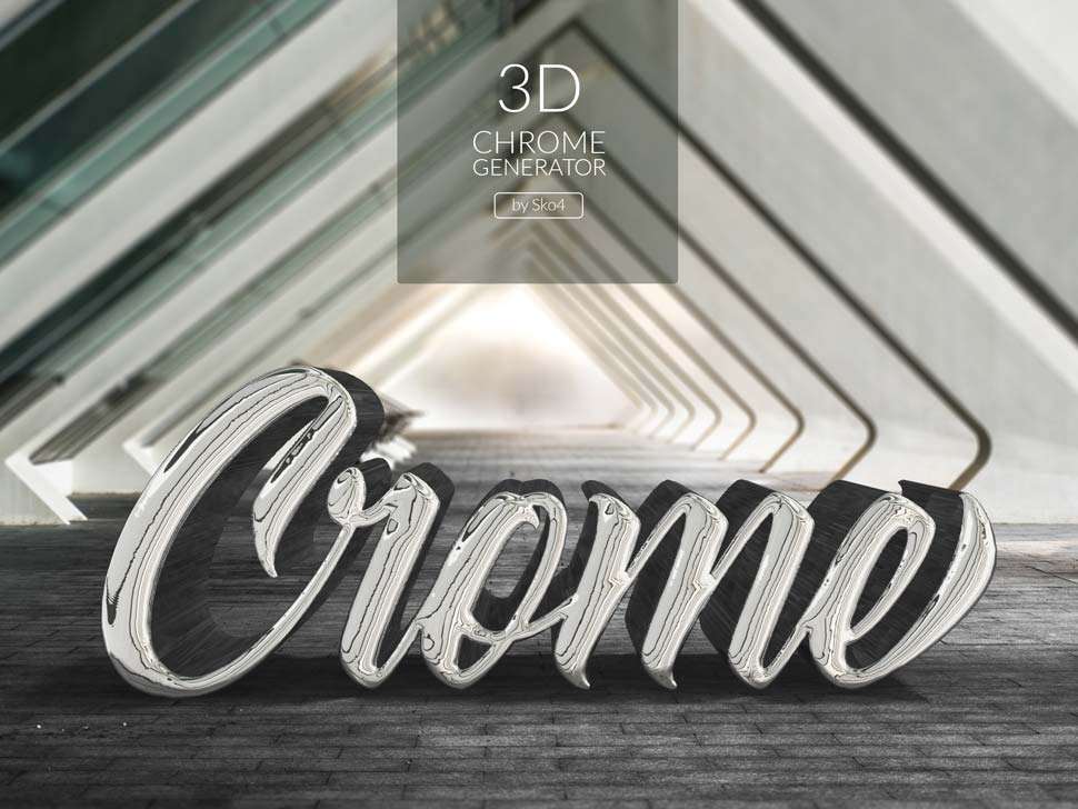 銀色金屬質感立體字PSD模板