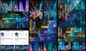 城市照片夜景霓虹灯艺术效果LR预设