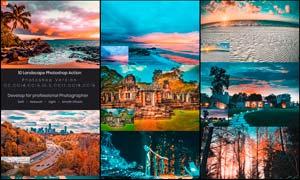 10款风景照片橙色艺术效果PS动作
