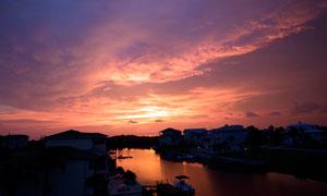 夕陽下的江南水鄉攝影圖片