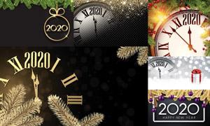 礼盒与星光时钟等圣诞新年矢量素材