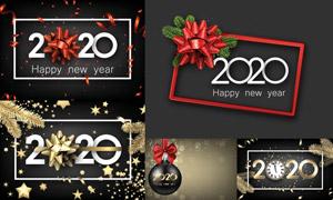 蝴蝶结挂球等圣诞新年主题矢量素材