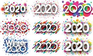 缤纷多彩图案点缀2020字样矢量素材
