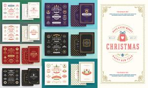 圣诞节图案背景与边框设计矢量素材