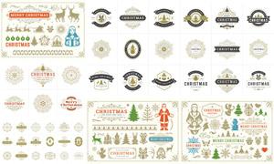 圣诞主题装饰图案边框设计矢量素材
