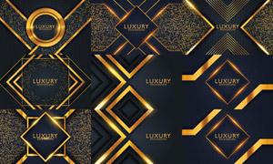 金色几何图形元素背景设计矢量素材