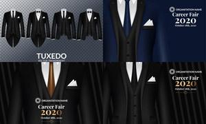 西装燕尾服等服装设计矢量素材V01