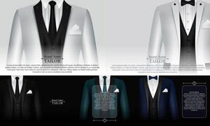 西装燕尾服等服装设计矢量素材V02