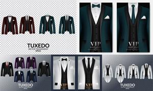 西装燕尾服等服装设计矢量素材V04