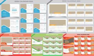 简洁版式2020台历模板矢量素材集V02