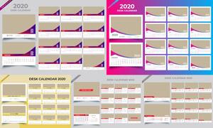 简洁版式2020台历模板矢量素材集V03