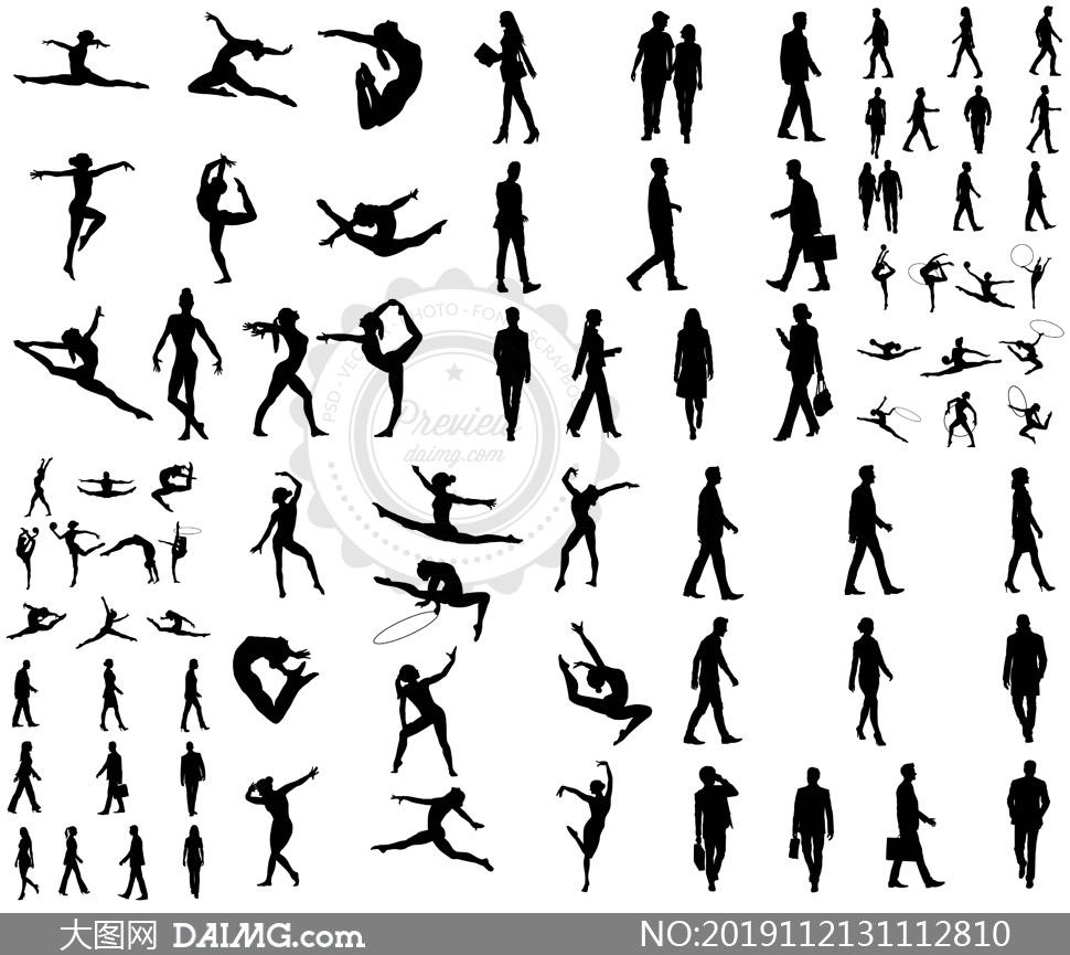 体操人物与行人等箭头主题矢量素材