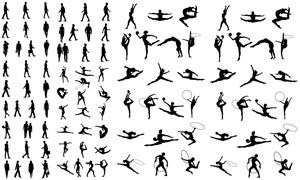 體操人物與行人等箭頭主題矢量素材