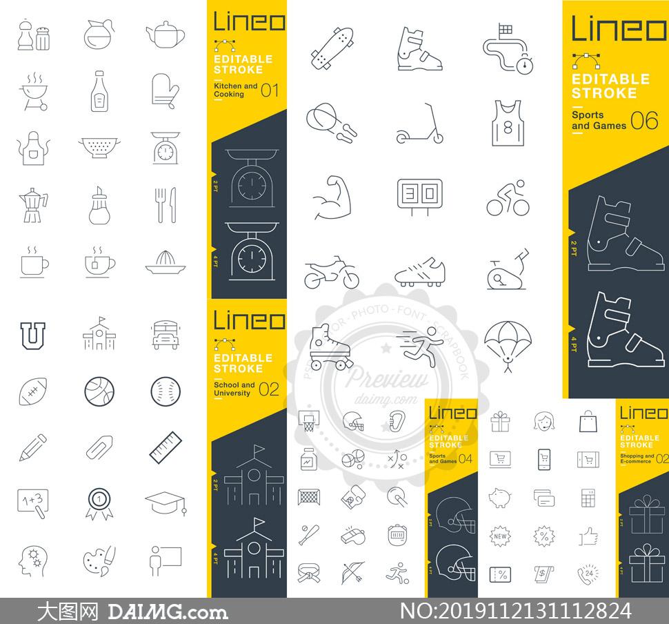 多款线条化风格图标矢量素材集V15