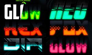 中文版发光特效的艺术字设计PS动作