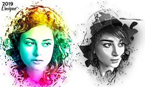 創意的人物肖像被液體溶液效果PS動作