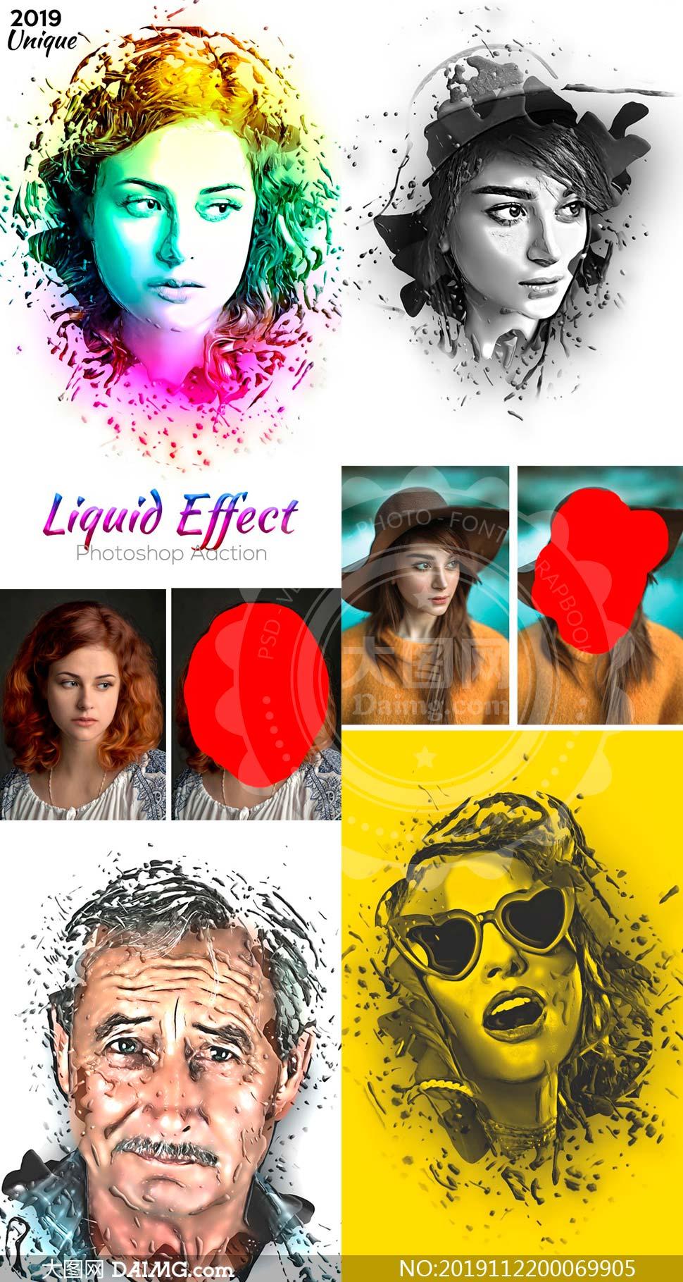 创意的人物肖像被液体溶液效果PS动作