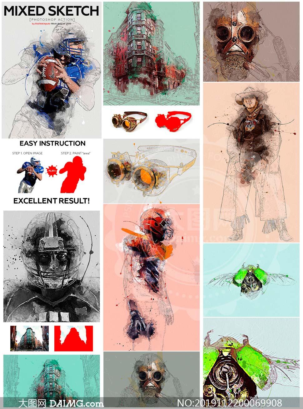 数码照片添加混合素描艺术效果PS动作