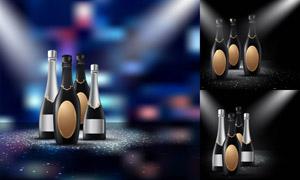 光效点缀的香槟酒瓶创意矢量素材V01