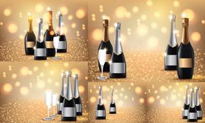光效点缀的香槟酒瓶创意矢量素材V02