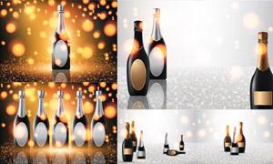 光效点缀的香槟酒瓶创意矢量素材V03