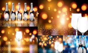 光效点缀的香槟酒瓶创意矢量素材V04