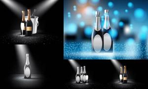 光效点缀的香槟酒瓶创意矢量素材V05