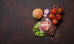 西红柿洋葱与肉饼特写摄影高清图片