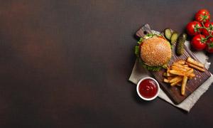薯条与汉堡包近景特写摄影高清图片