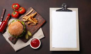 空白纸张与薯条汉堡包摄影高清图片
